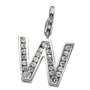 Pendant Charm Charms Chain Pendant Letter 'W' 925 Real Silver for Ladies