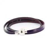jouailla Triple Towers (54 cm) - Calf Leather Bracelet Purple - Stainless Steel Magnetic Screw Clasp
