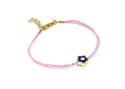 Beautiful Bracelet Necklace Cord String - Gold Colour With Rhinestone - Blüme Blue Eyes Nazar Boncuk Evil Eye Pink
