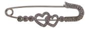Silver Double Heart Pashmina Pin / Scarf Pin / Jumper Pin / Wrap