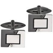 Stainless Steel Black Coated Pair of Gents Cufflinks Buttons