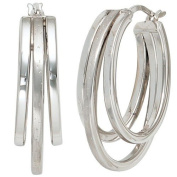 Creoles Earrings 28.9 mm Circular Earrings from 925 Silver 3 Front Line