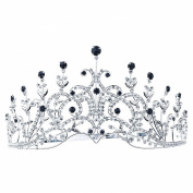 Pageant Beauty Contest Party Vintage Style Black Crystal Tall Tiara Crown
