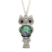 Claire's Girls and Womens Owl With Moonstone Belly Pendant Necklace in Silver