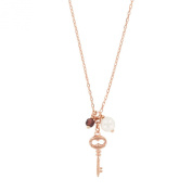 jouailla - Pink Mother of Pearl and Crystal Necklace - Sterling Silver Ring - Gold coloured - with Key