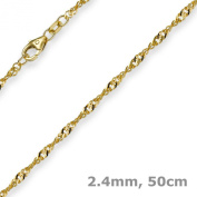 2.4 mm Chain necklace 585 Yellow Gold, Singapore Chain 50 cm
