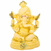The Hue Cottage Lord Ganesha Statue Handcrafted Polyresin Figurine Yellow Ganpati Showpiece Indian Religious Gift Items Decor