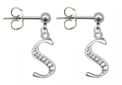 Silver stud Earrings with Initials - packed in a lovely velvet bag
