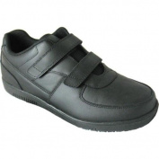 Women's Genuine Grip Footwear Slip-Resistant Injection Adjustables Black Leather