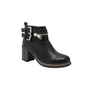 Olivia Miller 'Baxter' Multi Buckle Zip Chunky Heel Ankle Boots