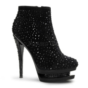 Pleaser Day & Night Women's 'Fascinate-310m Black Rhinestone-shaft Ankle Boots