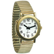 Mens Tel-Time Gold-Coloured Talking Watch with White Dial-Expansion Band