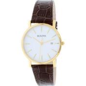 Men's 97B100 Brown Leather Quartz Watch
