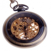 Hand Wind Mechanical Skeleton Pocket Watch Roman Numerals Unisex Vintage Style With Chain - PW12