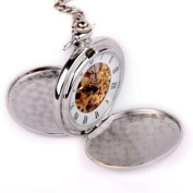 Skeleton Pocket Watch Mechanical Movement Hand Wind Roman Numerals Full Hunter Silver Tone Classic Engravable - PW20