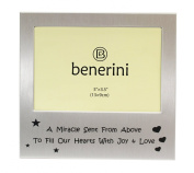 ' Miracle ' Baby Photo Frame Gift - Will take a photo of 5 x 3.5 Inches (13 x 9 cm) - Brushed Aluminium Satin Silver Colour