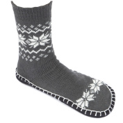 Leisureland Unisex Knitted Cosy Slippers Socks Snowflakes One SIze