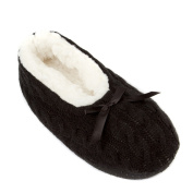 Leisureland Women's Knit Fleece Lined Solid Colour Slippers