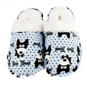 Leisureland Women's Cotton Cosy Bow Wow! Dog Slippers
