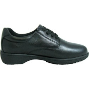 Women's Genuine Grip Footwear Slip-Resistant Oxford Casual Black Soft Full Grain Leather