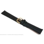 Genuine Leather Flat Black 18mm Watch Band
