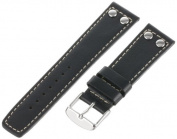 Momentum Men's ZC-22RIV Square One 22mm Black Rivet Leather Watch Strap