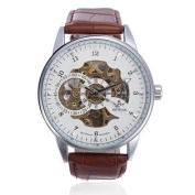 SEWOR White Automatic Mechanical Skeleton Leather Men Wrist Watch