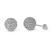 Sterling Silver Clear. Crystal Ball Stud Earring - 10mm