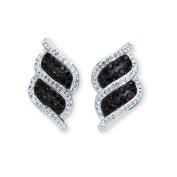 Platinum Over Bronze Black Crystal Kite Stripe Earrings