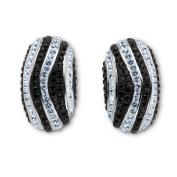 Ladies. Crystal Platinum Over Bronze Striped Earrings
