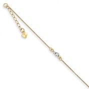 14k Two-Tone Mirror Bead Anklet - 23cm