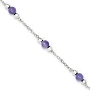 Sterling Silver Polished Lavender Jade Anklet - 23cm - Spring Ring