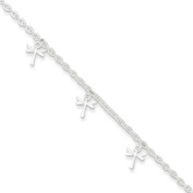 Sterling Silver Polished Dragonfly With 2.5cm Ext. Anklet 23cm