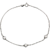 Sterling Silver Anklet With Flowers 25cm