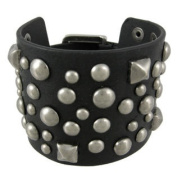 Black Distressed Leather Studded Wristband 5.1cm Wide