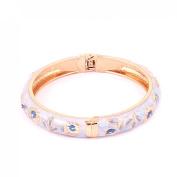 Lady Women Gold Plated Hinged Enamel Floral Bangle Bracelet Jewellery