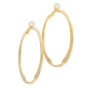 Ky & Co Large Yellow Gold Tone Clip On Hoop Earrings Made In USA 5.7cm