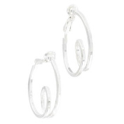 Ky & Co Small Silver Tone Square Wire Twist Clip On Hoop Earrings 2.9cm
