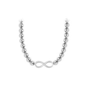 UBNK1007W14PD3040 14K White Gold Infinity Necklace with 10 mm. Beads Set on 14K White Gold Chain with Lobster Clasp