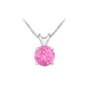 UBPD14WH4RD100PS 14K White Gold Prong Set Natural Pink Sapphire Solitaire Pendant 1 CT TGW