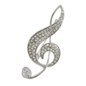 Silver Music Theme Brooch / AZBRMU003-SCL