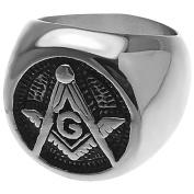 Freemasonry Engraved Masonic Emblem Stainless Steel Men's Ring - Size 13