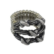 Silvertone Barbed Wire Stretch Ring