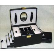 Budd Leather 543064-1 Leather Jewel Box W/Handle, 4 Drawers & Travel Box Black
