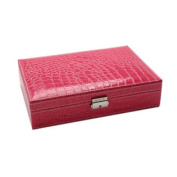 Classic Alligator Jewellery Storage Box With Lock Rose Red 28x19x7cm