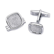 14k White Gold Pave Diamond Cuff Links
