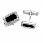 1/3 Carat Diamond Onyx 14k White Gold Cuff Links