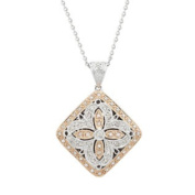 2/5 Carat Diamond 14k White & Rose Gold Antique-Style Cross Locket with Chain