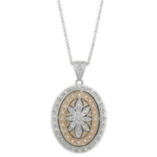 """2/5 Carat Diamond 14k Two-Tone Gold """"Antique Style"""" Flower Locket with Chain"""