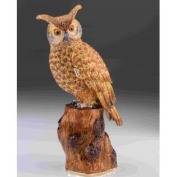 Large Brown Owl Faberge Styled Trinket Box by Keren Kopal Home Decor Decorative Box